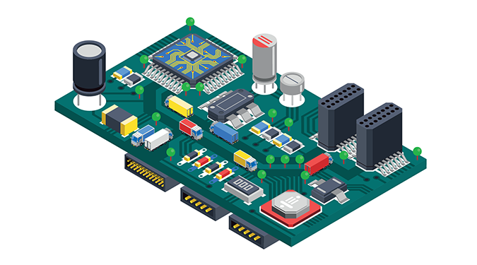 3D Cad image of a PCB Assembly